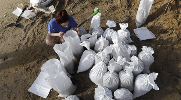 Sandbags being placed in Baton Rouge ahead of Tropical Storm Barry (AP Photo/David J. Phillip)