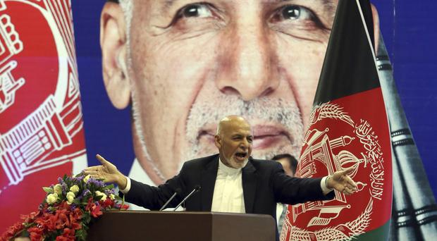Afghan presidential candidate Ashraf Ghani speaks during the first day of campaigning in Kabul, (Rahmat Gul/AP)