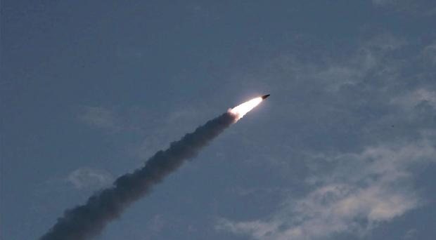 The test of a missile launch in North Korea on Thursday (Korean Central News Agency/Korea News Service via AP)