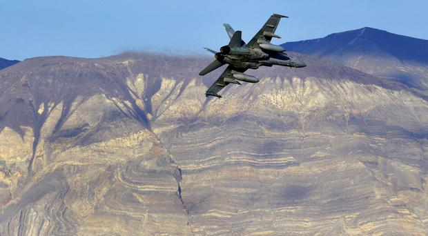 File photo of an F/A-18D Hornet flying out of what is known as Star Wars Canyon. On Wednesday, July 31, 2019 a US Navy F/A-18 Super Hornet jet crashed in the California desert (Ben Margot, AP)