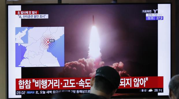 North Korea on Saturday extended a recent streak of weapons display by firing projectiles twice into the sea (Lee Jin-man/AP)