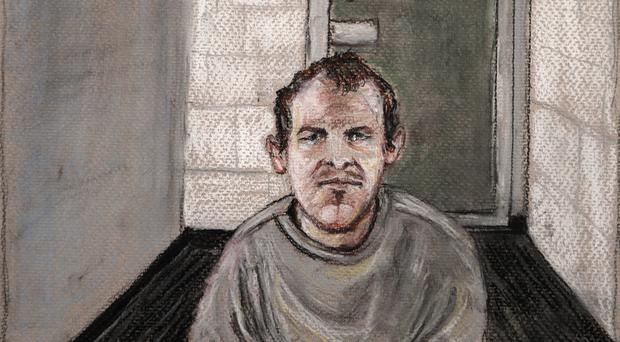 A courtroom drawing of Brenton Tarrant, the man accused of killing 51 people at two Christchurch mosques in March (Stephanie McEwin/AP)