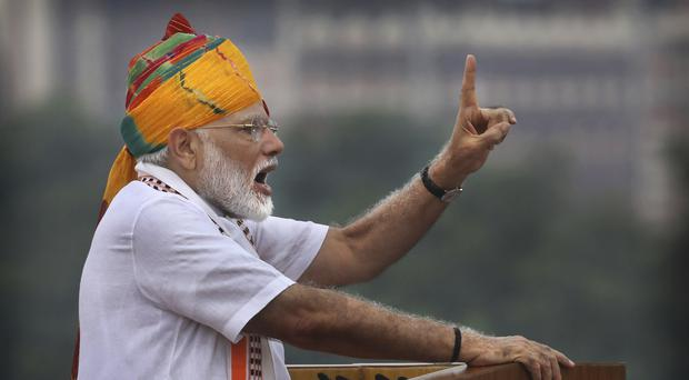 Indian Prime Minister Narendra Modi addresses the nation on the country's independence day (Manish Swarup/AP)