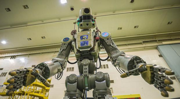 The Fedor robot before being loaded into a Soyuz capsule (Roscosmos Space Agency/AP)