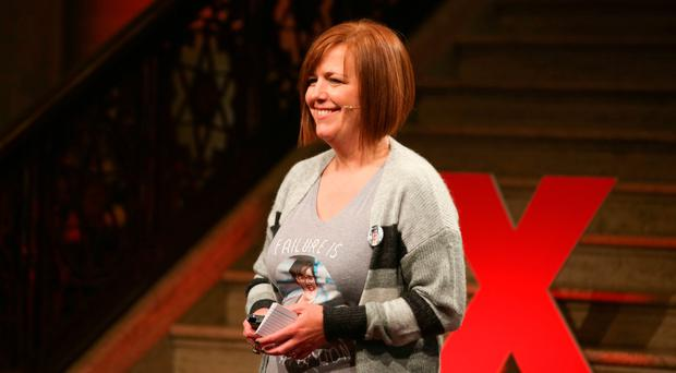 Nichola Corner, the sister of Lyra McKee, onstage at the TEDx event in the Great Hall, Parliament Buildings, Stormont