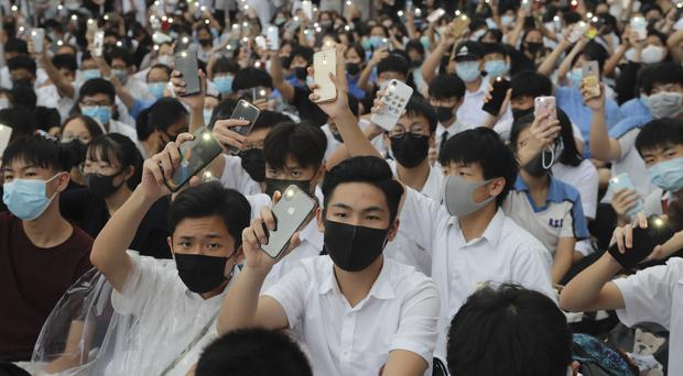 School students take part in a protest in Hong Kong (AP)