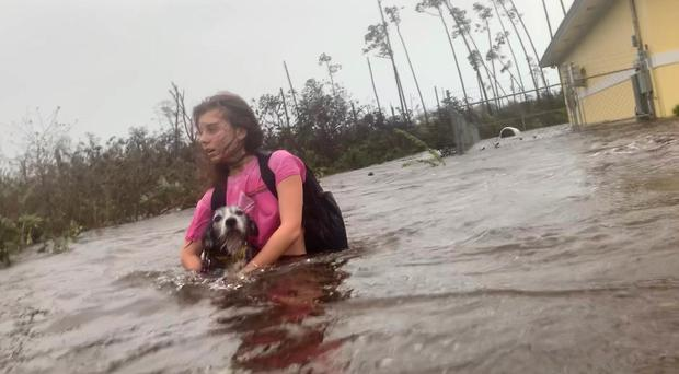 Julia Aylen wades through waist-deep water carrying her pet dog as she is rescued from her flooded home during Hurricane Dorian in Freeport, Bahamas (Tim Aylen/AP)