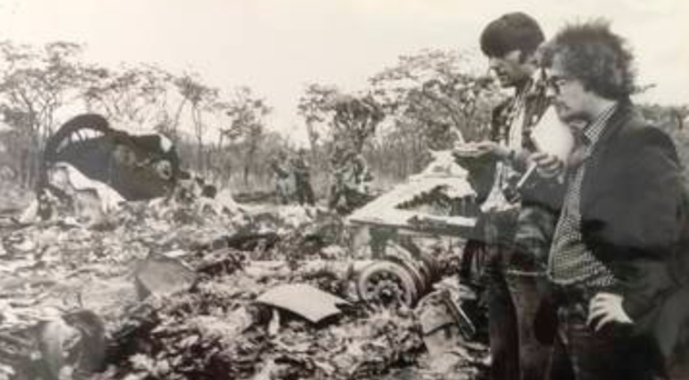 Paul Hopkins (right) at work as a reporter in Rhodesia, later Zimbabwe