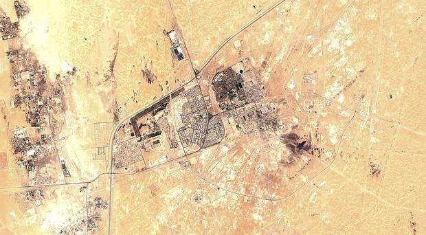 A satellite image of Saudi Aramco's Abqaiq oil processing facility in Buqyaq (European Commission via AP)