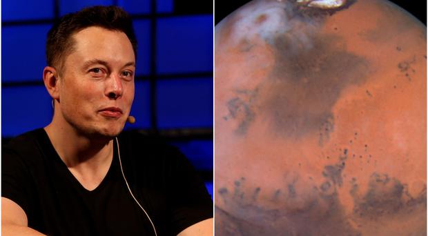 Elon Musk and the planet Mars (Brian Lawless/Nasa/PA)