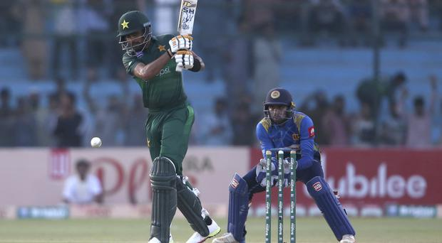 Pakistan's batman Babar Azam batting in Monday's landmark one-day match against Sri Lanka in Karachi (Fareed Khan/AP)
