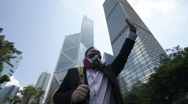 A protester wears a gas mask (AP)