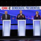 Democratic presidential candidates Kamala Harris, Bernie Sanders, former vice president Joe Biden, Senator Elizabeth Warren and South Bend Mayor Pete Buttigieg (john Minchillo/AP)