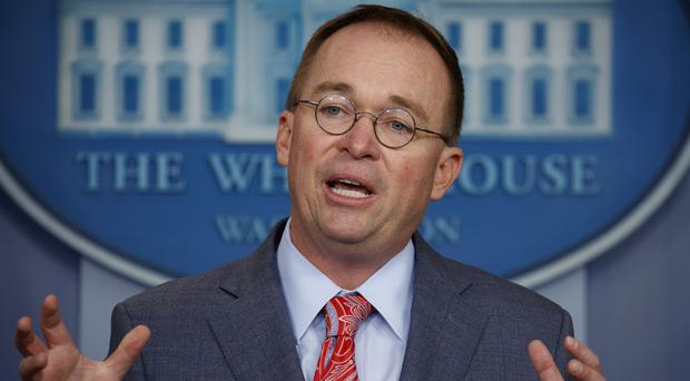 White House chief of staff Mick Mulvaney gave a briefing at the White House (Evan Vucci/AP)