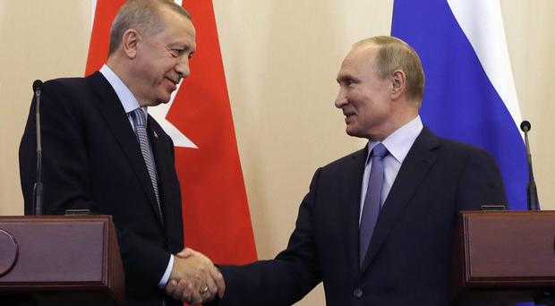 Vladimir Putin and Recep Tayyip Erdogan shake hands (Presidential Press Service via AP)