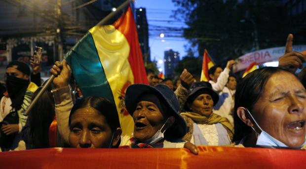 Protesters who are against the re-election of Evo Morales (Juan Karita/AP)