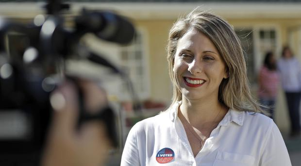 Katie Hill, who has resigned from Congress following the release of personal photos of her with a staffer (Marcio Jose Sanchez/PA)