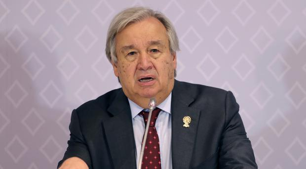 United Nations secretary-general Antonio Guterres speaks during a press conference at The Association of Southeast Asian Nations (ASEAN) summit in Nonthaburi, Thailand (Aijaz Rahi/AP