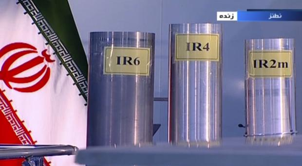 File photo of three versions of domestically-built centrifuge shown in a live TV programme from Natanz, an Iranian uranium enrichment plant, in Iran (AP)