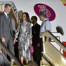 Spain's King Felipe VI and Queen Letizia, centre, have arrived in Cuba (Yamil Lage/Pool photo via AP)