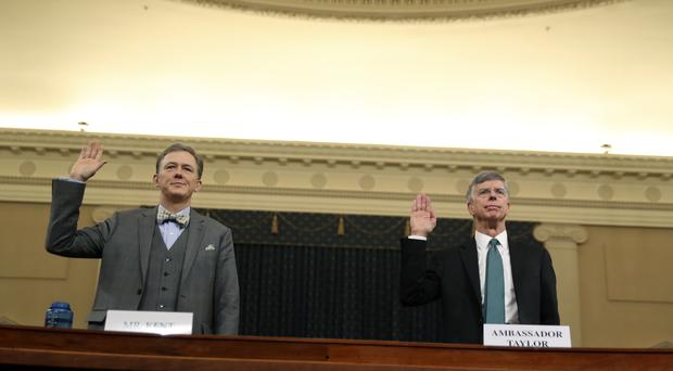 George Kent and William Taylor are sworn in to testify (Andrew Harnik/AP)