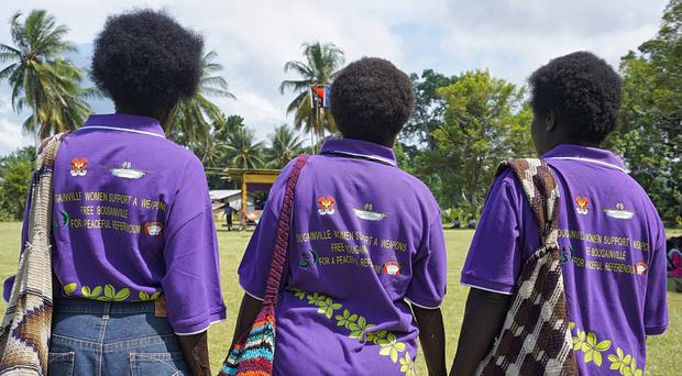 Women in the village of Aero, Central Bougainville, where citizens will vote on independence (Nick Turner/UNDP/AP)