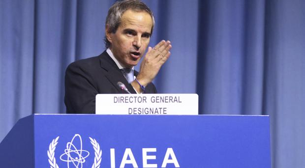 Rafael Mariano Grossi from Argentina, delivers a speech at the beginning of a general conference of the IAEA (Ronald Zak/AP)