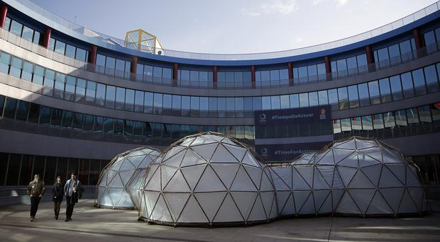 A pollution pod by British artist Michael Pinsky is displayed at the COP25 climate talks summit in Madrid, Spain (Manu Fernandez/AP)