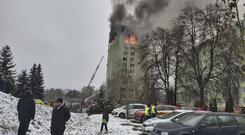 At least five people were killed when a gas explosion severely damaged a 12-storey apartment building in Presov, Slovakia (Police of Slovakia/HO/AP)