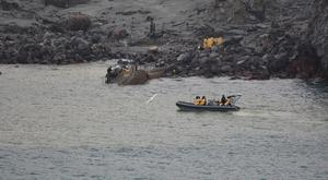 The operation to recover bodies from White Island was paused on Friday (New Zealand Defence Force/AP