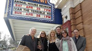 Stephen Furst, pictured far right next to John Belushi's widow Judy, with fellow Animal House cast members (left to right) Peter Riegert, Karen Allen, Martha Smith and Mark Metcalf (The Berkshire Eagle/AP)