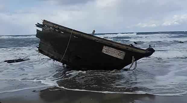 Part of a boat found on Sado Island, Niigata Prefecture, northern Japan (Sado Coast Guard Station/AP)