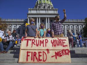 Joe Biden supporters demonstrate in front of the Pennsylvania State Capitol in Harrisburg (Mark Pynes/The Patriot-News via AP)