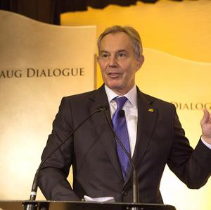 Tony Blair speaks at the World Food Prize symposium in Des Moines, Iowa (AP)