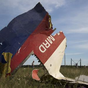 A man walks past a piece of the crashed Malaysia Airlines Flight 17 near the village of Hrabove, eastern Ukraine (AP)