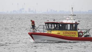 One of the three units from Swedish Sea Rescue Society search in Lundakra Bay between Barseback and Landskrona, Sweden, searching for missing Swedish journalist Kim Wall (AP)