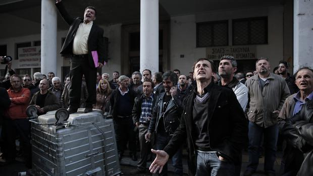 Protesters in central Athens. (AP)