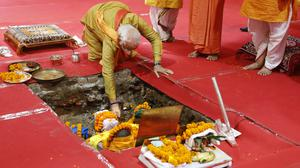 Indian prime minister Narendra Modi performs rituals during the groundbreaking ceremony of a temple dedicated to the Hindu god Ram, in Ayodhya, India (Rajesh Kumar Singh/AP)