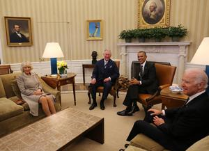 Joe Biden (right) served as vice president under Barack Obama, seen here welcoming the Prince of Wales and Duchess of Cornwall to the white House (Chris Radburn/AP)
