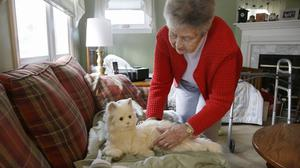 Mary Derr, 93, with her robot cat Buddy (AP)