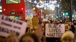 The shooting prompted protests as far away as London
