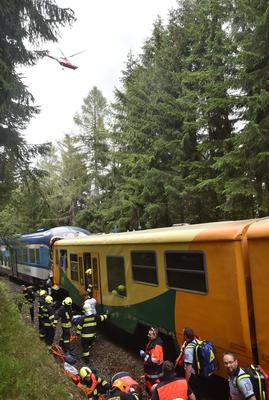 Emergency services at the scene following the crash (HZSKVK via AP)