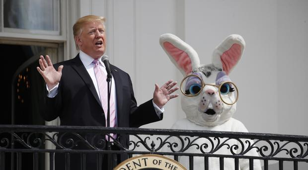 Donald Trump and the Easter Bunny (AP Photo/Alex Brandon)