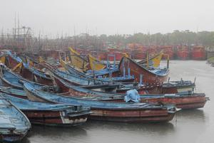Boats anchored in Paradeep, on the Bay of Bengal coast (AP)