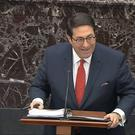 President Donald Trump personal lawyer Jay Sekulow addresses the impeachment trial in the Senate (Senate Television via AP)