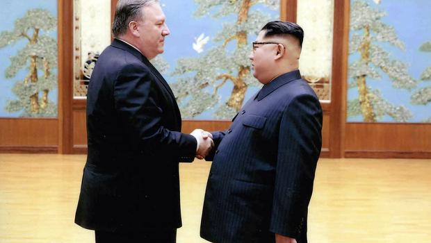 Mike Pompeo met North Korean leader Kim Jong Un during a Easter weekend trip (White House/AP)