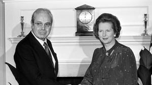 United Nations Secretary General, Javier Perez de Cuellar, who figured prominently during the ill-fated United nations attempts to defuse the Falklands crisis, shaking hands with Margaret Thatcher (PA)