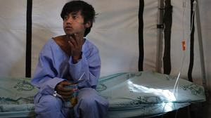 Pemba Tamang recovers at the Israeli field hospital for earthquake victims after being rescued (AP)