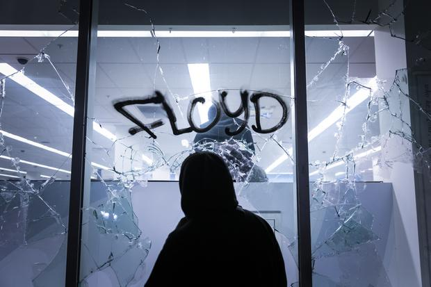 Protests in Oakland, California, left several business premises damaged (Philip Pacheco/AP)