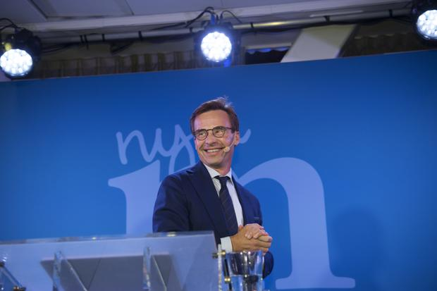 The Moderates party leader Ulf Kristersson speaks at an election party in Stockholm (Henrik Montgomery/TT via AP)